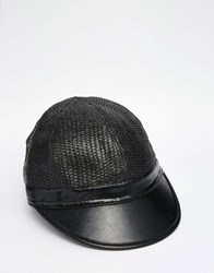 Asos Staw Cap In Black With Faux Leather Peak Black