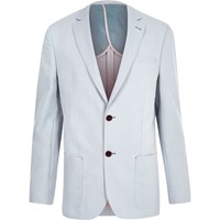 River Island Mens Blue Tailored Fit Blazer