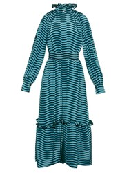 Fendi Ruffled Neck Striped Cady Midi Dress Blue Multi