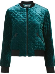 Alice Olivia 'Demia' Quilted Bomber Jacket Green