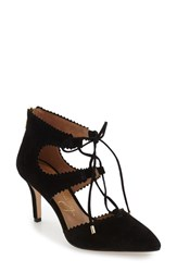Women's Arturo Chiang 'Georgiane' Ghillie Pointy Toe Pump Black Suede