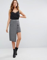 Vero Moda Pencil Skirt With Asymmetric Overlay Black And Silver Multi