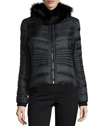 Elie Tahari Carrie Reversible Fur Collar Jacket Black