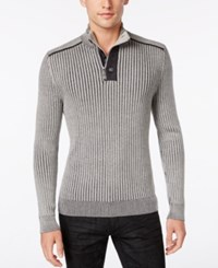 Inc International Concepts Men's Quarter Zip And Button Ribbed Sweater Only At Macy's Platinum Heather