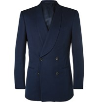 Gieves And Hawkes Navy Double Breasted Cotton Tuxedo Jacket Blue