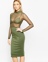 Club L Bodycon Midi Dress With Sheer Top And Bralet Green