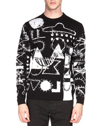 Kenzo Ufo And Symbol Print Crewneck Sweater Black White