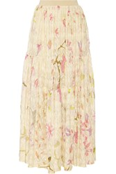 Missoni Floral Print Crochet Knit Maxi Skirt White
