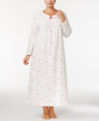 Charter Club Plus Size Printed Flannel Nightgown Only At Macy's Iovry Cardinal