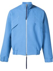 Lou Dalton Jacquard Strap Detail 'Waffle' Zip Up Jacket Blue