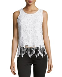 Romeo And Juliet Couture Lace Fringe Trim Scoop Neck Tank White