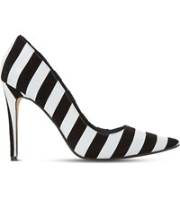Dune Belissimo Striped Suede Court Shoes Black White Leather