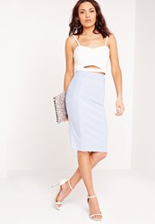 Missguided Bandage Midi Rib Skirt Pale Blue Blue