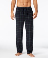 Perry Ellis Men's Plaid Fleece Pajama Pants Black Green