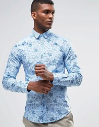 United Colors Of Benetton Shirt With All Over Floral Print In Slim Fit Light Blue