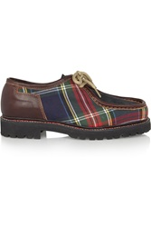 Penelope Chilvers Tartan Twill Leather And Suede Brogues