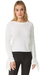 English Factory Lace Up Sweater White