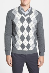 Toscano Argyle V Neck Sweater Gray