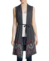 Jwla Tisha Geometric Embroidered Draped Vest Charcoal Gray