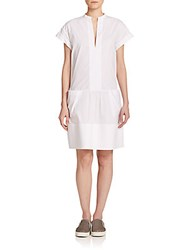 Vince Drop Waist Shift Dress White