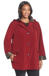 Plus Size Women's Gallery Bibbed Silk Look Raincoat