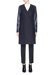 Theory 'Quennel' Detachable Leather Sleeve Compact Wool Coat Blue