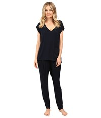 Midnight By Carole Hochman Modal Short Sleeve Pajama Women's Pajama Sets Navy