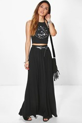Boohoo Floor Sweeping Jersey Maxi Skirt Black