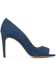 Jean Michel Cazabat Open Toe Denim Pumps Blue