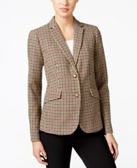 Charter Club Petite Plaid Two Button Blazer Only At Macy's Sand Combo
