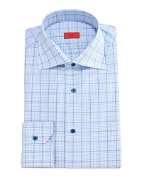 Isaia Gingham Box Check Dress Shirt Light Blue