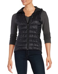 Betsey Johnson Zip Front Puffer Vest Black
