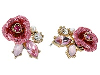 Betsey Johnson Glitter Rose Stud Earrings Pink Earring