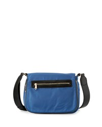 Neiman Marcus Charlie Nylon Messenger Crossbody Bag Dusk Blue