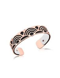 Les Georgettes Small Poisson Rose Gold Plated Bracelet W Black And White Reversible Leather Strap