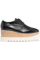 Stella Mccartney Faux Glossed Leather Platform Brogues Black