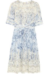 Zimmermann Confetti Embroidered Floral Print Cotton Dress Light Blue