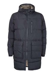 Topman Blue Ltd Navy Premium Duck Down Longline Puffer Jacket