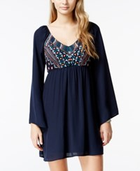 City Triangles City Studios Juniors' Embroidered Bell Sleeve Dress