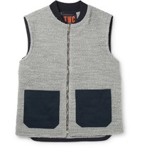 The Workers Club Worker Panelled Wool And Cotton Blend Boucle Gilet Gray
