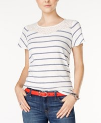 Tommy Hilfiger Striped Lace T Shirt Only At Macy's Crystal Pink