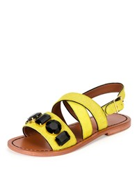 Marni Jeweled Calf Hair Flat Slingback Sandal Pineapple Women's Size 35.5B 5.5B