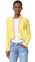 Wgaca Chanel Cardigan Previously Owned Yellow Pink