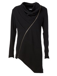 Moohong Asymmetric Zip Cowl Neck Cardigan Black