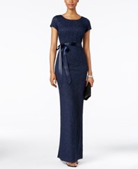 Adrianna Papell Short Sleeve Beaded Jacquard Gown Navy