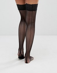 Jonathan Aston Fishnnet Backseam And Heel Hold Ups Black