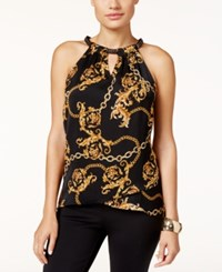 Thalia Sodi Chain Neck Printed Top Only At Macy's Deep Black Combo
