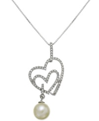 Macy's Sterling Silver Necklace Cultured Freshwater Pearl 7Mm And Diamond 1 4 Ct. T.W. Heart Pendant White