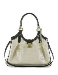 Brahmin Elisa Tri Color Leather Hobo Ivory Tri