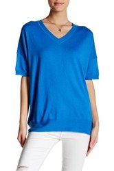 Inhabit Slouchy V Neck Tee Blue